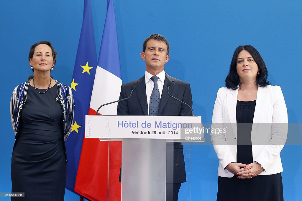 French Prime Minister <a gi-track='captionPersonalityLinkClicked' href=/galleries/search?phrase=Manuel+Valls&family=editorial&specificpeople=2178864 ng-click='$event.stopPropagation()'>Manuel Valls</a> (C), French Ecology Minister <a gi-track='captionPersonalityLinkClicked' href=/galleries/search?phrase=Segolene+Royal&family=editorial&specificpeople=546504 ng-click='$event.stopPropagation()'>Segolene Royal</a> (L) and French Housing Minister <a gi-track='captionPersonalityLinkClicked' href=/galleries/search?phrase=Sylvia+Pinel&family=editorial&specificpeople=9331820 ng-click='$event.stopPropagation()'>Sylvia Pinel</a> (R) attend a press conference to announce the Housing Recovery plan at the Hotel Matignon on August 29, 2014 in Paris, France. <a gi-track='captionPersonalityLinkClicked' href=/galleries/search?phrase=Manuel+Valls&family=editorial&specificpeople=2178864 ng-click='$event.stopPropagation()'>Manuel Valls</a> announced a series of measures aimed to boost housing construction.