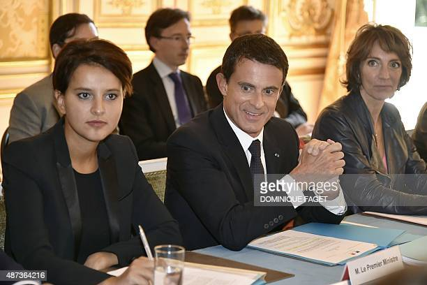 French Prime Minister Manuel Valls French Education minister Najat VallaudBelkacem and French Social Affairs and Health Minister Marisol Touraine...