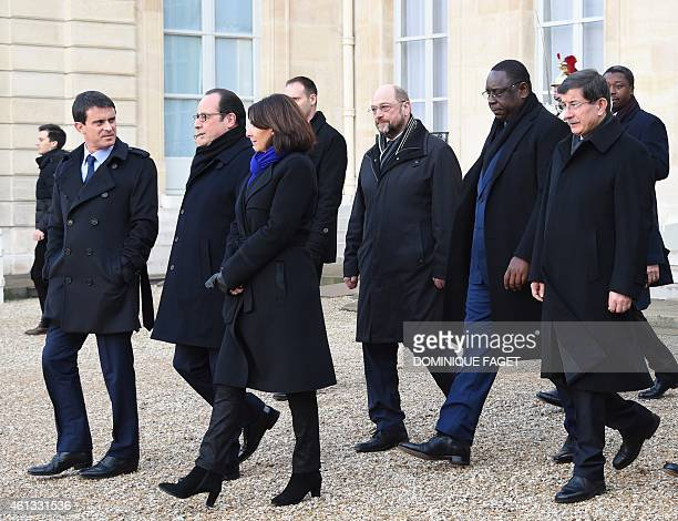 French Prime minister Manuel Valls French President Francois Hollande Paris Mayor Anne Hidalgo European Parliament President Martin Schulz Senegal...
