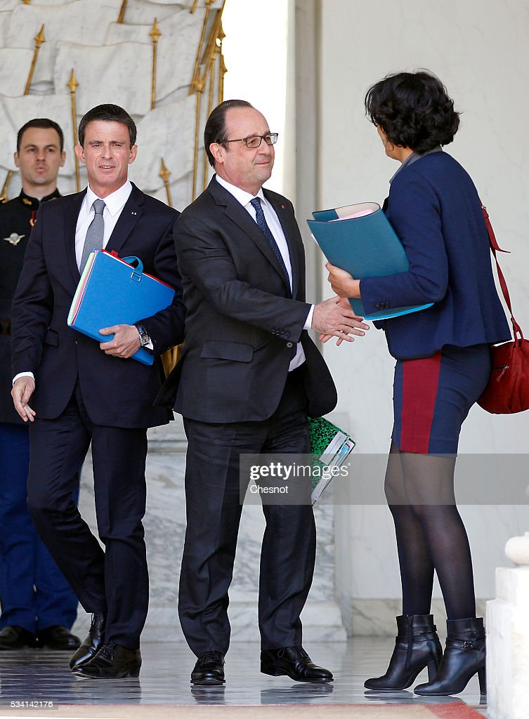 French Prime minister, <a gi-track='captionPersonalityLinkClicked' href=/galleries/search?phrase=Manuel+Valls&family=editorial&specificpeople=2178864 ng-click='$event.stopPropagation()'>Manuel Valls</a>, French President, Francois Hollande and Myriam El Khomri, French Labour Minister leave the Elysee Presidential Palace after a weekly cabinet meeting on May 25, 2016 in Paris, France. The French Government confirms that it tapped into its strategic reserves of petroleum products and said the equivalent of three days of inventory of 115 available had been used until now. the French government is facing a serious crisis following the El Khomri law.