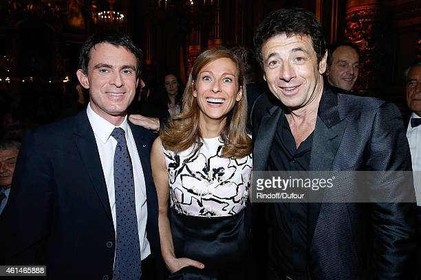 French Prime Minister Manuel Valls his wife violonist Anne gravoin and singer Patrick Bruel attend Weizmann Institute celebrates its 40 Anniversary...