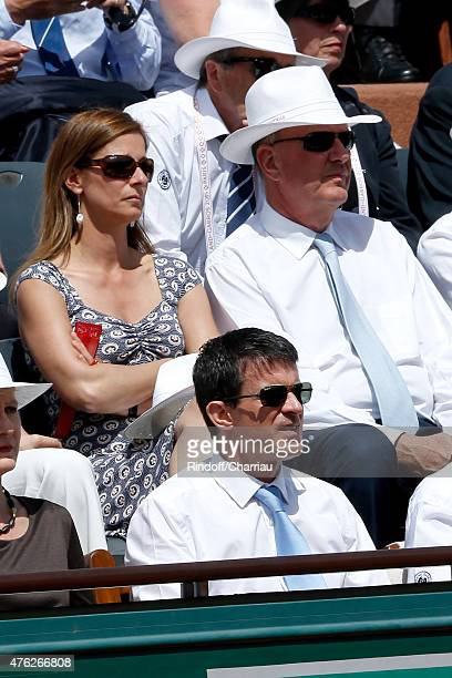 French Prime Minister Manuel Valls his wife violonist Anne Gravoin and President of France Television Remy Pflimlin attend the Men Final of 2015...