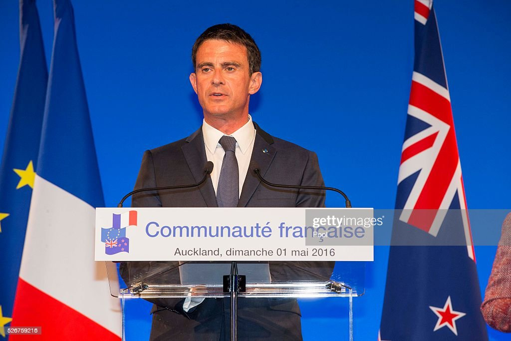 French Prime Minister Manuel Valls honours The Hobbit movie maker Peter Jackson and photographer Fiona Pardington with prestigious arts medals at the Auckland War Memorial Museum on May 1, 2016 in Auckland, New Zealand. It is the first time in 25 years that a French Prime Minister has visited New Zealand.