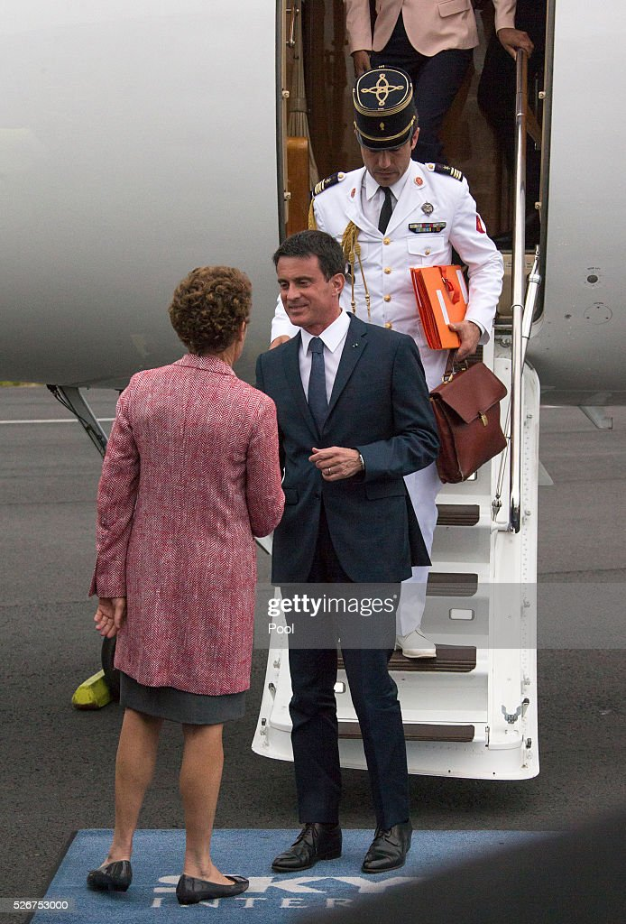 French Prime Minister Manuel Valls is greeted by Florence Jeanblanc-Risler, the Ambassador of France to New Zealand, upon arrival at Auckland Airport on May 1, 2016 in Auckland, New Zealand. It is the first time in 25 years that a French Prime Minister has visited New Zealand.