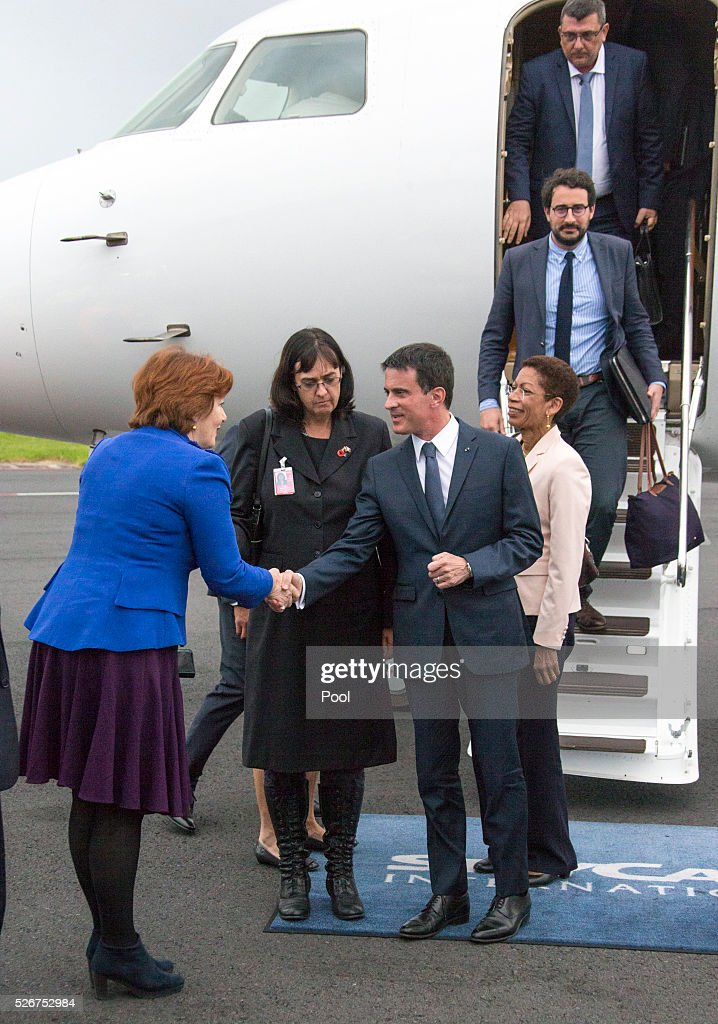 French Prime Minister Manuel Valls is greeted by New Zealand Politician Maggie Barry upon arrival at Auckland Airport on May 1, 2016 in Auckland, New Zealand. It is the first time in 25 years that a French Prime Minister has visited New Zealand.