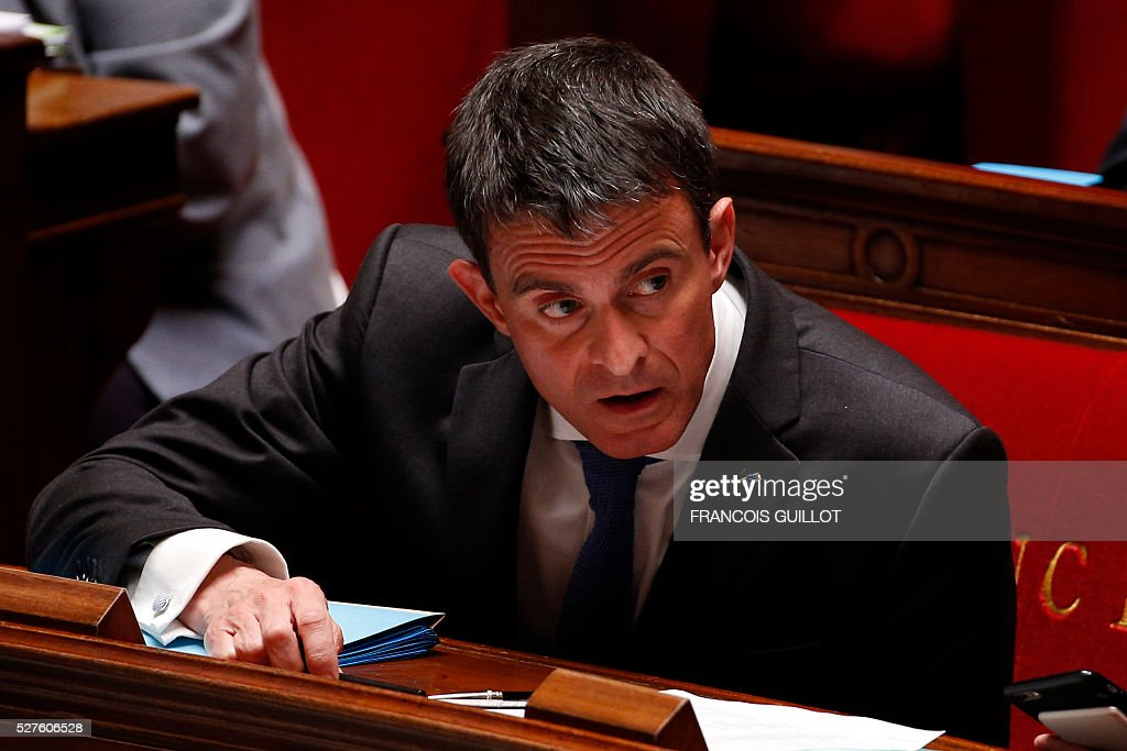 French Prime minister Manuel Valls is pictured during a session of Questions to the government, on May 3, 2016 at the French National assembly in Paris.
