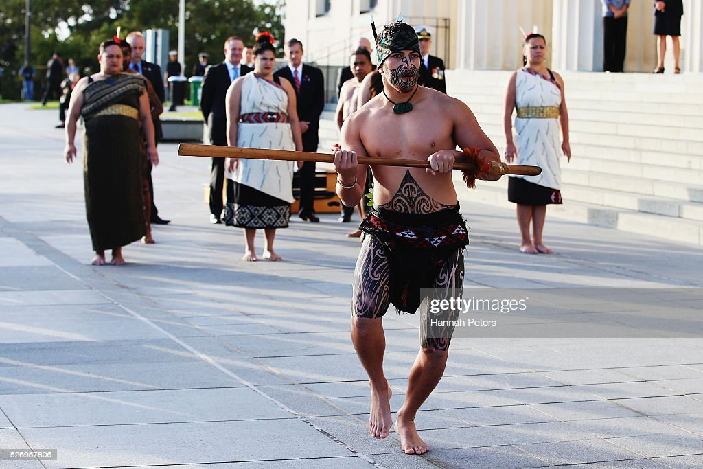 French Prime Minister Manuel Valls is welcomed with a traditional Maori welcome during a ceremony at the Auckland museum on May 2, 2016 in Auckland, New Zealand. It is the first time in 25 years that a French Prime Minister has visited New Zealand.