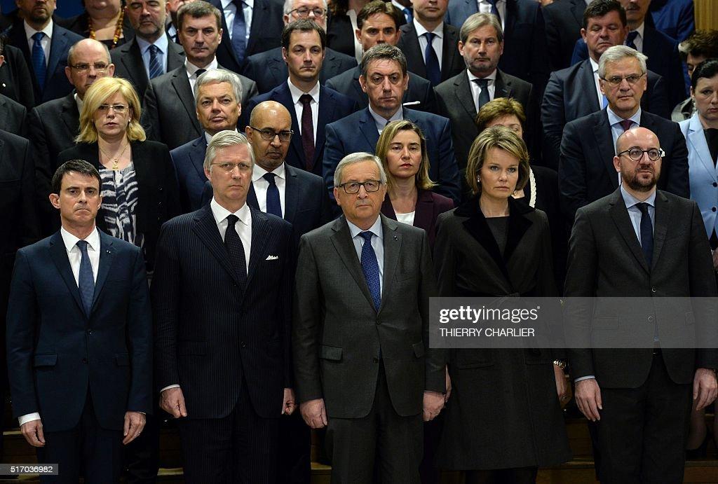 French Prime Minister Manuel Valls King Philippe of Belgium European Union Commission president JeanClaude Juncker Queen Mathilde of Belgium and...