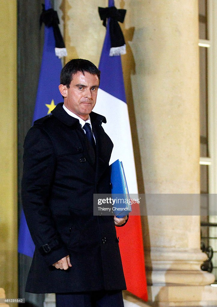 French Prime Minister <a gi-track='captionPersonalityLinkClicked' href=/galleries/search?phrase=Manuel+Valls&family=editorial&specificpeople=2178864 ng-click='$event.stopPropagation()'>Manuel Valls</a> leaves the Elysee Palace after a crisis meeting at the Elysee Palace on January 9, 2015, in Paris, France. Both sieges in France are now believed to be over following operations by special forces police.