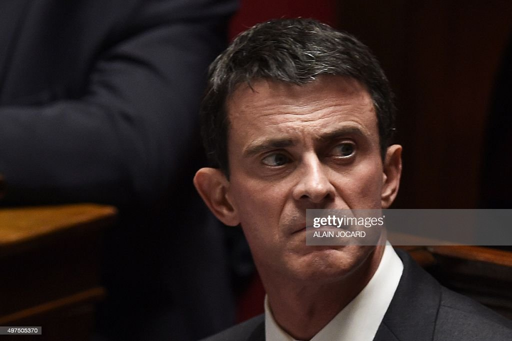 French Prime minister <a gi-track='captionPersonalityLinkClicked' href=/galleries/search?phrase=Manuel+Valls&family=editorial&specificpeople=2178864 ng-click='$event.stopPropagation()'>Manuel Valls</a> looks on during a session of questions to the Government at the French National Assembly on November 17, 2015 in Paris. AFP PHOTO / ALAIN JOCARD