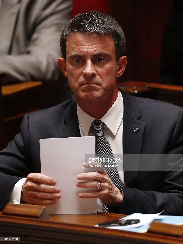 French Prime Minister Manuel Valls looks on during a session of Questions to the Government, on May 25, 2016 at the National Assembly in Paris.