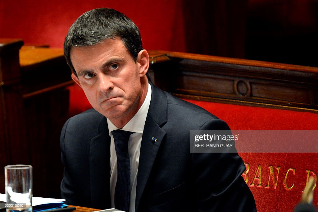 French Prime Minister Manuel Valls looks on during a session of questions to the Government at the French National Assembly in Paris, on May 31, 2016.