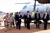 French Prime Minister Manuel Valls Malian Defence Minister Tieman Hubert Coulibaly French Ambassador in Mali Gilles Huberson and French Defence...