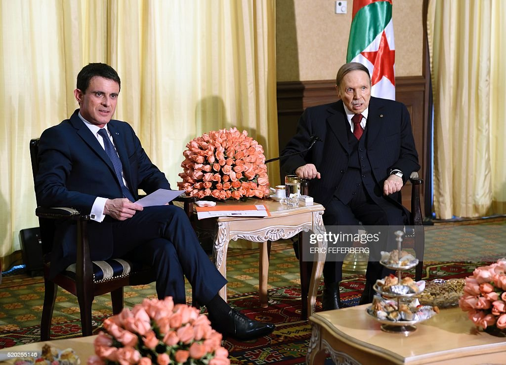 French Prime Minister Manuel Valls (L) meets Algerian President <a gi-track='captionPersonalityLinkClicked' href=/galleries/search?phrase=Abdelaziz+Bouteflika&family=editorial&specificpeople=176720 ng-click='$event.stopPropagation()'>Abdelaziz Bouteflika</a> at his residence in Zeralda, a suburb of the capital Algiers, during an official visit on April 10, 2016. / AFP / Eric FEFERBERG