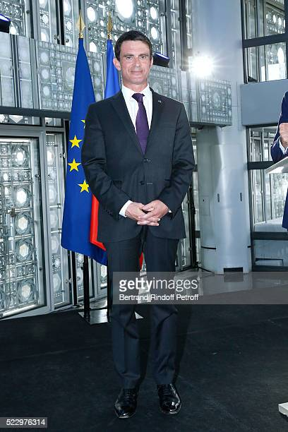 French Prime Minister Manuel Valls presents the 'Jardins d'Orient' Exhibition at Institut du Monde Arabe on April 21 2016 in Paris France