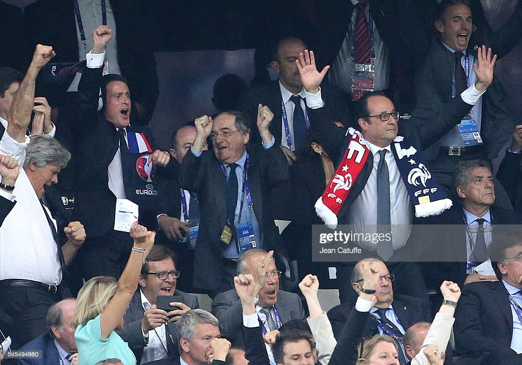 French Prime Minister Manuel Valls, President of French Football Federation Noel Le Graet, President of France Francois Hollande celebrate the first goal of France during the UEFA Euro 2016 semi-final match between Germany and France at Stade Velodrome on July 7, 2016 in Marseille, France.
