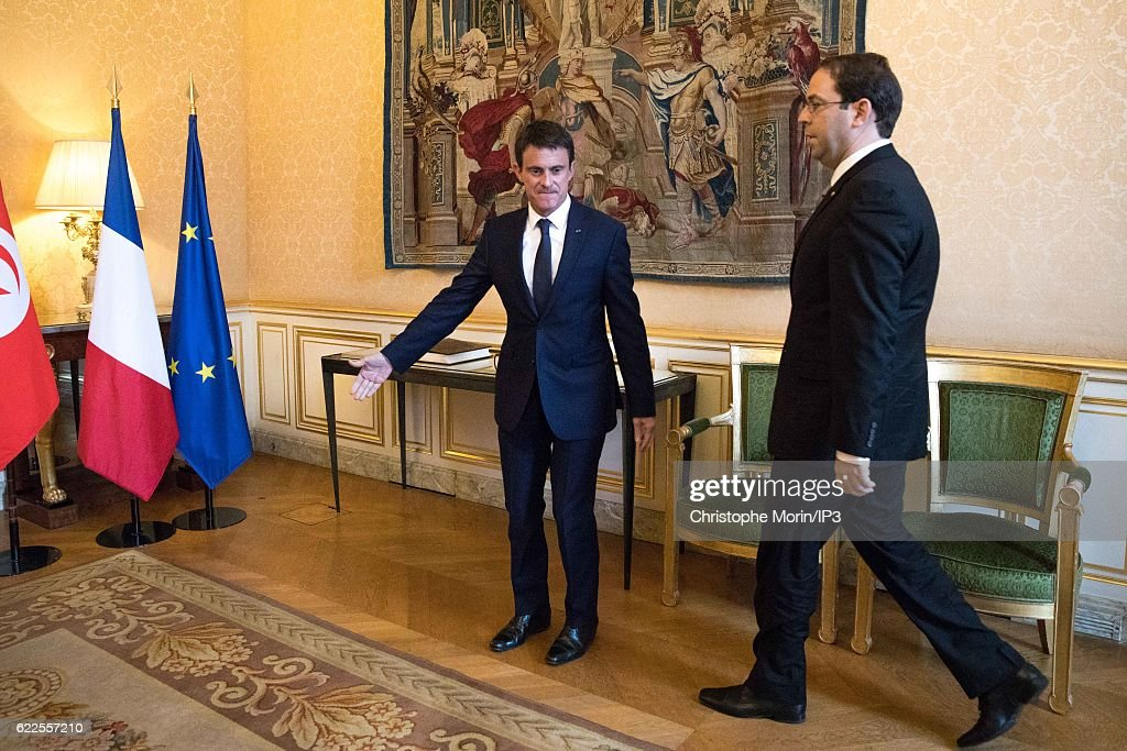 French Prime Minister Manuel Valls Receives Youssef Chahed In Paris