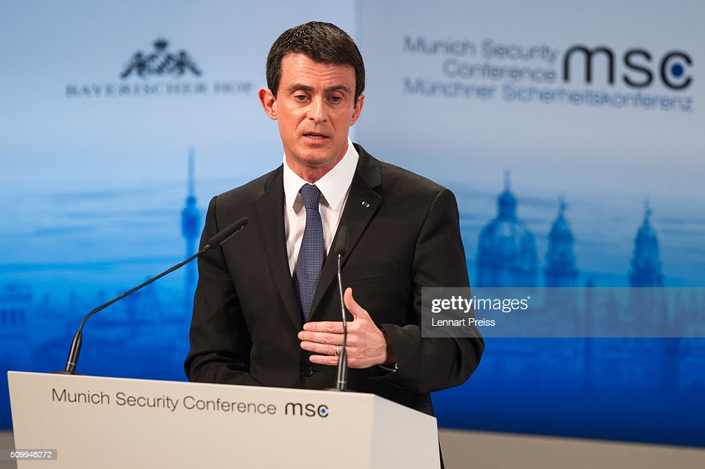 French Prime Minister Manuel Valls speaks at the 2016 Munich Security Conference at the Bayerischer Hof hotel on February 13, 2016 in Munich, Germany. The annual event brings together government representatives and security experts from across the globe and this year the conflict in Syria will be the main issue under discussion.