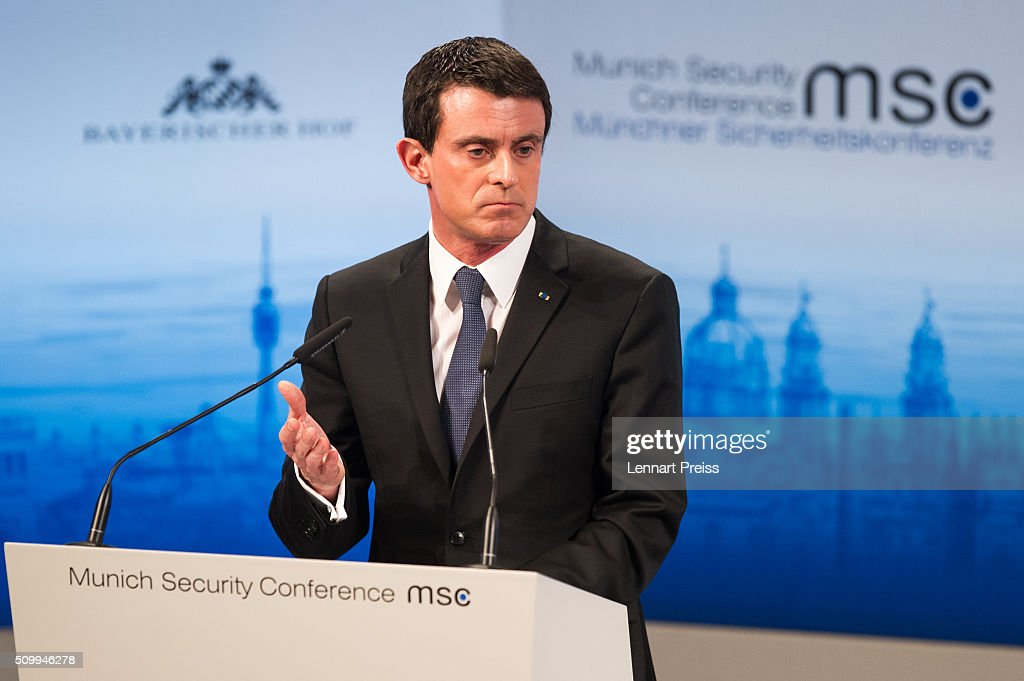 French Prime Minister <a gi-track='captionPersonalityLinkClicked' href=/galleries/search?phrase=Manuel+Valls&family=editorial&specificpeople=2178864 ng-click='$event.stopPropagation()'>Manuel Valls</a> speaks at the 2016 Munich Security Conference at the Bayerischer Hof hotel on February 13, 2016 in Munich, Germany. The annual event brings together government representatives and security experts from across the globe and this year the conflict in Syria will be the main issue under discussion.