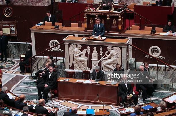 French Prime Minister Manuel Valls speaks during a debate ahead of a parliamentary vote on whether to continue airstrikes in Syria at the French...