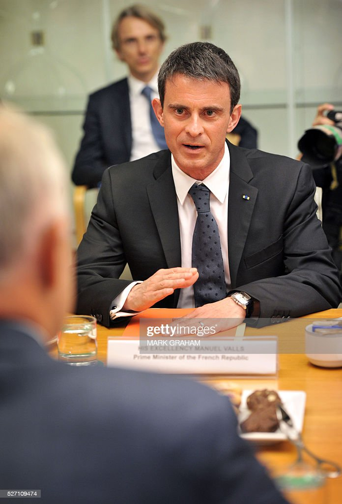 French Prime Minister Manuel Valls speaks during a meeting with Australian Prime Minister Malcolm Turnbull at Parliament House, Canberra on May 2, 2016. / AFP / MARK
