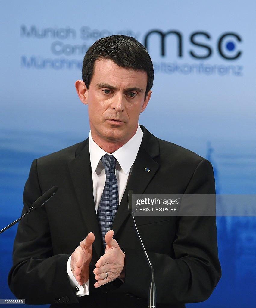 French Prime Minister Manuel Valls speaks during a panel at the second day of the 52nd Munich Security Conference (MSC) in Munich, southern Germany, on February 13, 2016. / AFP / Christof STACHE
