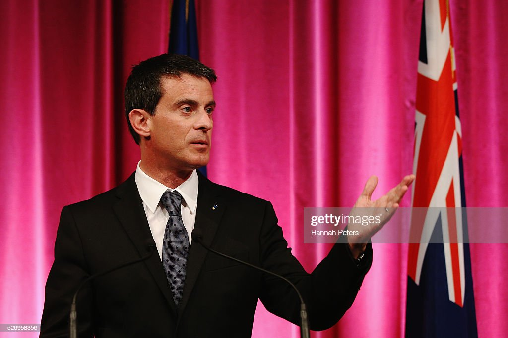 French Prime Minister Manuel Valls speaks during a press conference at the Auckland museum on May 2, 2016 in Auckland, New Zealand. It is the first time in 25 years that a French Prime Minister has visited New Zealand.