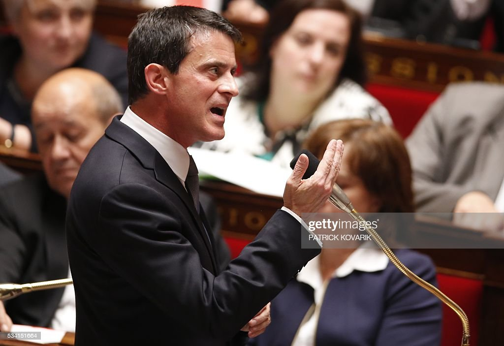 French Prime Minister Manuel Valls speaks during a session of Questions to the Government, on May 25, 2016 at the National Assembly in Paris.