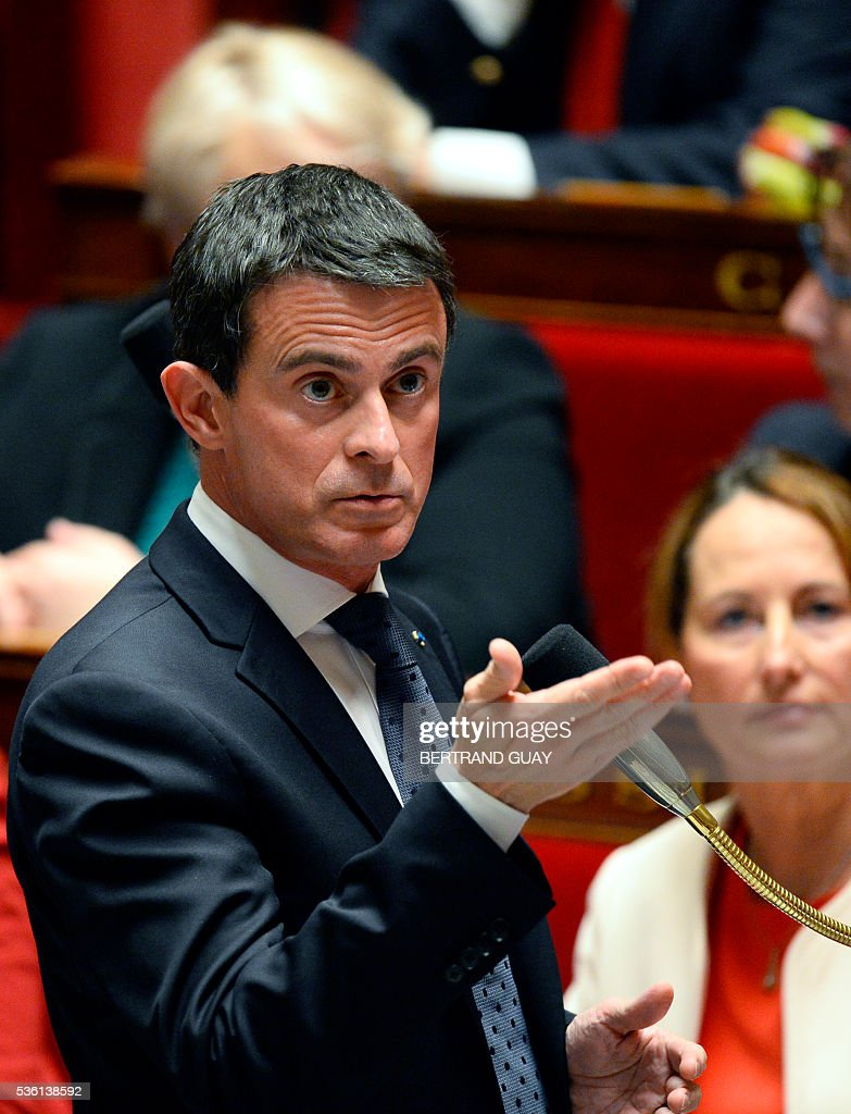 French Prime Minister Manuel Valls speaks during a session of questions to the Government at the French National Assembly in Paris, on May 31, 2016.
