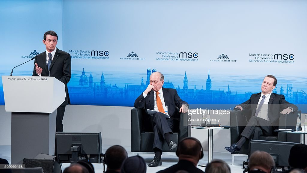 French Prime Minister Manuel Valls (L) speaks next to The chairman of the Conference on Security Policy Wolfgang Ischinger (C) and Russian Prime Minister Dmitry Medvedev (R) during the 2016 Munich Security Conference at the Bayerischer Hof hotel on February 13, 2016 in Munich, Germany. The annual event brings together government representatives and security experts from across the globe and this year the conflict in Syria will be the main issue under discussion.