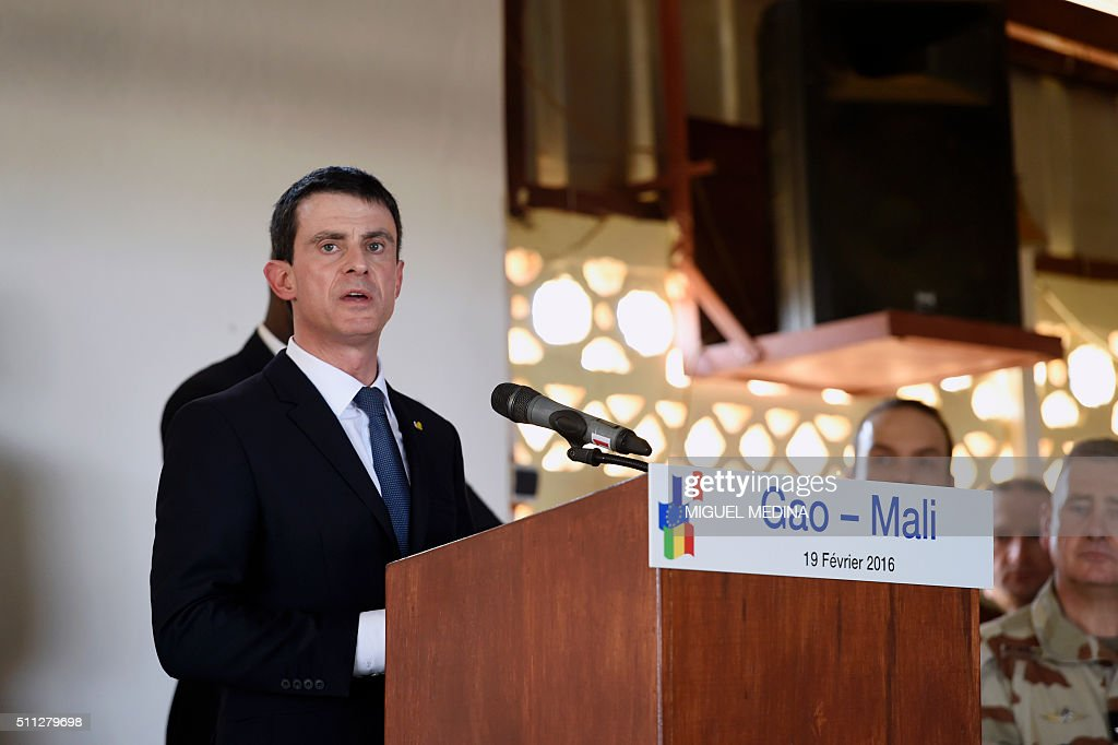 French Prime Minister Manuel Valls speaks to soldiers during his visit to the troops of France's Barkhane counterterrorism operation in Africa's...