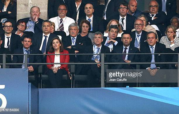 French Prime Minister Manuel Valls VicePresident of Spain Soraya Saenz de Santamaria President of Royal Spanish Football Federation Angel Maria...