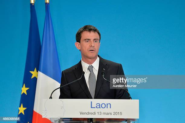 French Prime Minister Manuel Valls visits the prefecture of Aisne on March 13 2015 in Laon France The purpose of the visit is to promote and...