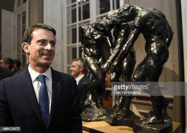 French Prime Minister Manuel Valls visits the Rodin Museum in Paris during its inauguration ceremony after three years of renovation works on...