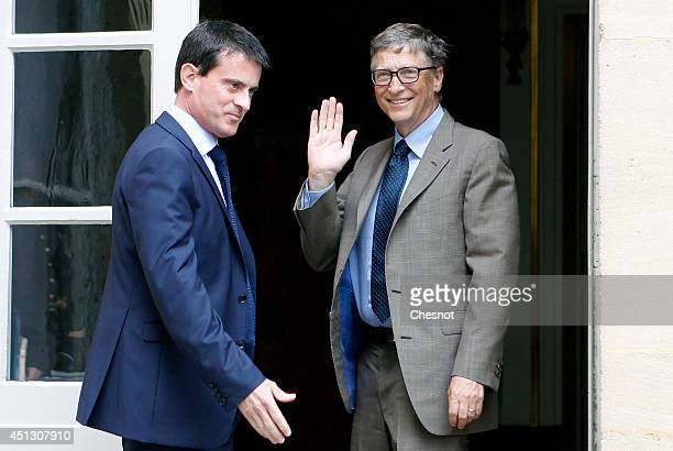 French Prime Minister Manuel Valls welcomes Bill Gates the coFounder of the Microsoft company and coFounder of the Bill and Melinda Gates Foundation...