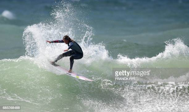 French pro surfer Pauline Ado takes part in a training session on May 19 2027 in Biarritz southwestern France on the eve of the start of the 2017 ISA...