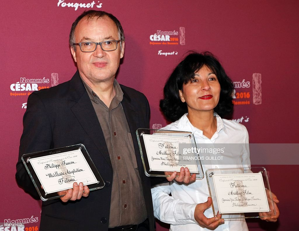French producer and director Philippe Faucon and producer Yasmina Nini-Faucon, nominated for Best Feature Film, pose during the nominations event for the 2016 César film awards, on February 6, 2016 in Paris. The 41st Ceremony for the Cesar film award, considered as the highest film honour in France, will take place on February 26, 2016. / AFP / FRANCOIS GUILLOT