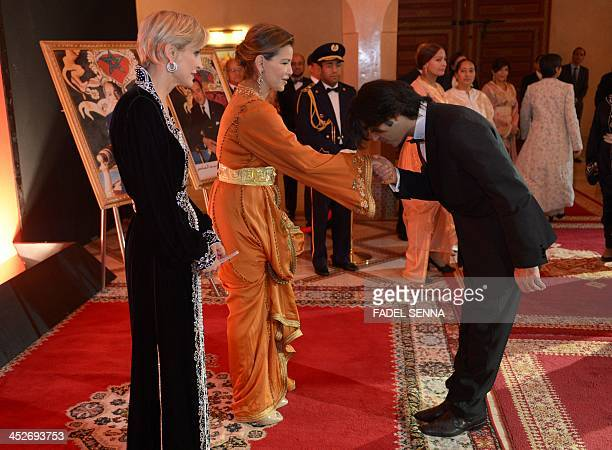 French producer Melita Toscan du Plantier looks on while Moroccan Princess Lalla Meryem receives TurkishGerman film director Fatih Akin at the 13th...