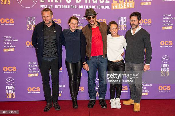 French producer Tristan Aurouet French actors Camille Cottin Joeystarr Alice Belaidi and Manu Payet pose during the photocall for 'Les Gorilles'...
