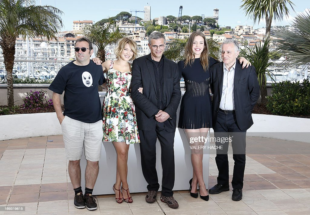 French producer Vincent Maraval, actress Lea Seydoux, French-Tunisian director Abdellatif Kechiche, French actress Adele Exarchopoulos and producer Brahim Chioua pose on May 23, 2013 during a photocall for the film 'Blue is the Warmest Colour' (La Vie d'Adele - Chapitre 1 & 2) presented in Competition at the 66th edition of the Cannes Film Festival in Cannes. Cannes, one of the world's top film festivals, opened on May 15 and will climax on May 26 with awards selected by a jury headed this year by Hollywood legend Steven Spielberg.