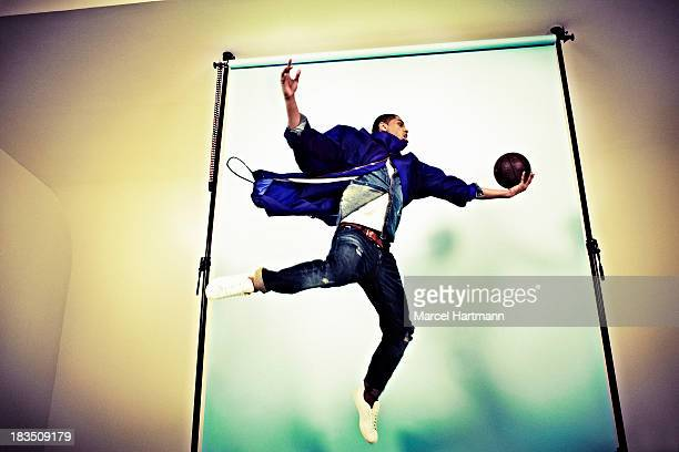 French professional basketball player Nicolas Batum is photographed for Sport style magazine on April 5 2012 in Paris France