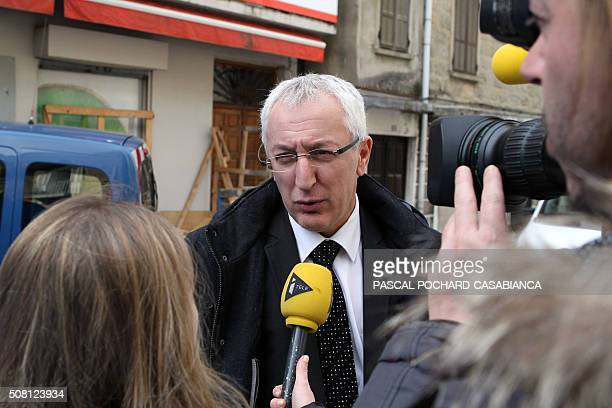 French prosecutor Eric Bouillard addresses the media near a Muslim butcher's shop that was sprayed with bullets overnight on February 3 2016 in...