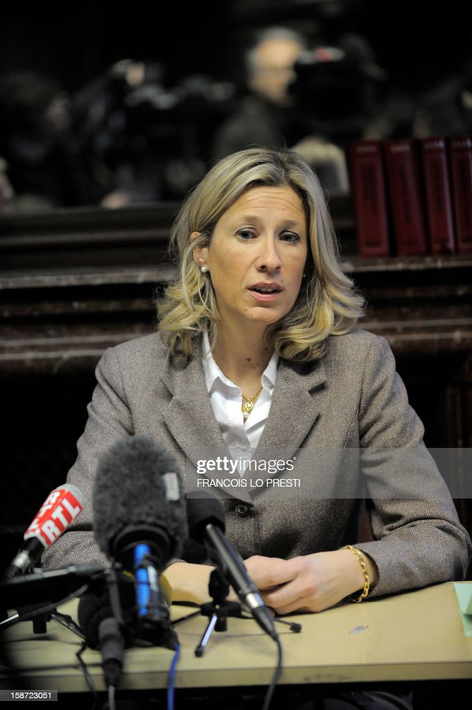 French prosecutor for Compiegne Ulrika Delaunay-Weiss speaks to the press during a search for missing teen Bruno on December 26, 2012 in Ribecourt-Dreslincourt one week after the Down Syndrome affected 17 year old disappeared from the Compiegne region. AFP PHOTO / FRANCOIS LO PRESTI