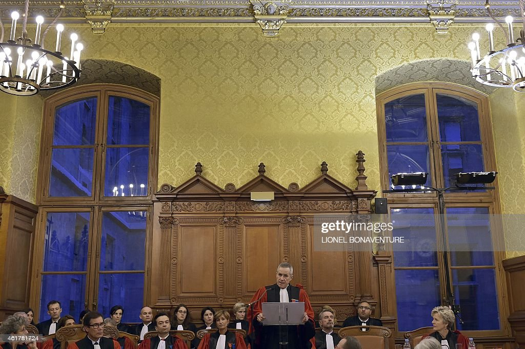 French Prosecutor Francois Molins gices an address during the traditional ceremony of the 'Rentrée' of the Bar on January 19, 2015 at the Palais de Justice in Paris.