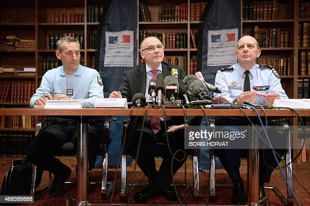 French prosecutor of Marseille Brice Robin speaks during a press conference in Marseille southern France on April 2 flanked by General David Galtier...