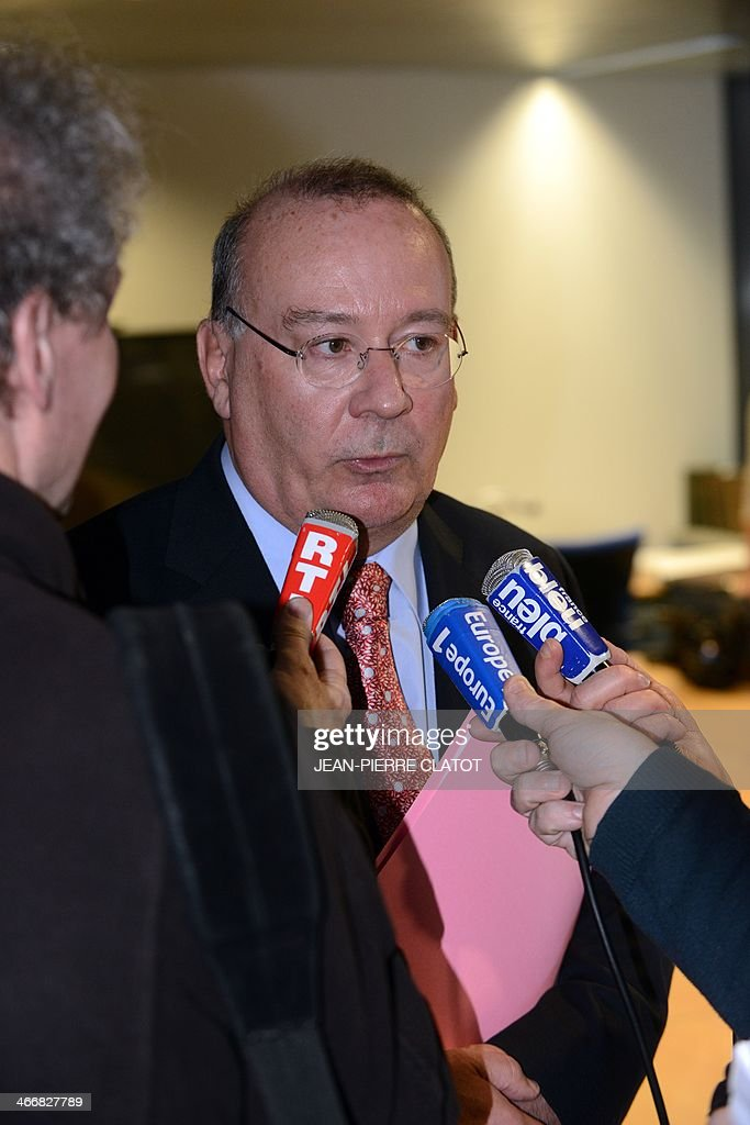 French prosecutor of the city of Grenoble, Jean-Yves Coquillat, speaks during a press conference on February 4, 2014 at the Grenoble courthouse, after a handicapped person was assaulted by three minors who recorded videos of the aggression and posted them on the internet. The three suspects, aged 14, 15 and 16, have been arrested and are in custody.