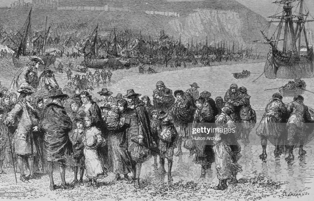 French Protestant Huguenot refugees arriving on the English coast at Dover in Kent 1685 They are fleeing religious persecution in France after King...