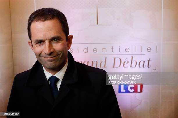 French présidentialisme election candidate for the leftwing French Socialist party Benoit Hamon arrives for a debate organised by French private TV...