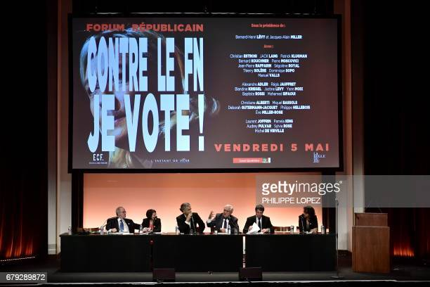 French psychoanalysts JacquesAlain Miller and Christiane Alberti French philosopher BernardHenri Levy French rightwing Les Republicains party senator...