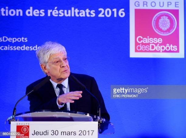 French public investment bank La Caisse des Depots head PierreRene Lemas presents the group's annual results for 2016 in Paris on March 30 2017 / AFP...